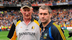 Best of enemies: Brian Cody and Liam Sheedy after Kilkenny's 2009 victory which the Tipp boss would ultimately avenge a year later – something Cody will be reminded of on Sunday. Photo: Stephen McCarthy/Sportsfile