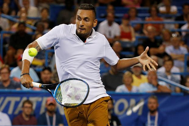 Australian player Nick Kyrgios also refused to shake hands with Fergus Murphy at the end of the match. Picture: USA Today Sports
