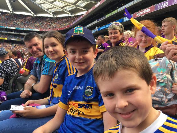 (L-R): Fergal, Ciara, Thomas and Conor McLoughlin at Croke Park for the the All Ireland Hurling Semi-Final against Wexford