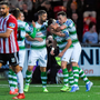 Aaron McEneff of Shamrock Rovers, centre, celebrates with Greg Bolger and Aaron Greene after scoring his side's first goal during the SSE Airtricity League Premier Division match between Derry City and Shamrock Rovers at the Ryan McBride Brandywell Stadium in Derry. Photo by Oliver McVeigh/Sportsfile