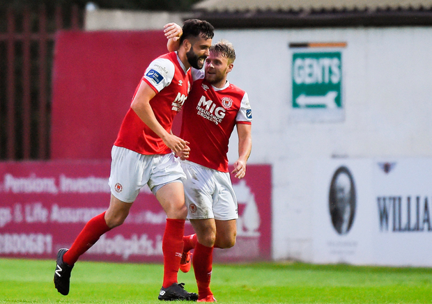 David Webster, left, of St Patrick's Athletic celebrates. Photo by Ben McShane/Sportsfile