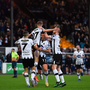 16 August 2019; Daniel Kelly of Dundalk celebrates with team-mates after scoring his side's first goal of the game during the SSE Airtricity League Premier Division match between Dundalk and Finn Harps at Oriel Park in Louth. Photo by Eóin Noonan/Sportsfile