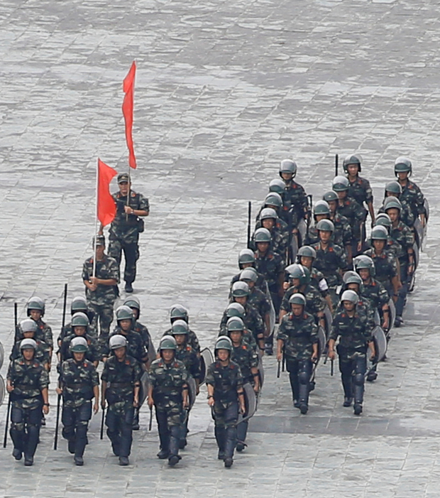 Threat: A Chinese exercise at Shenzhen Bay. Photo: Reuters