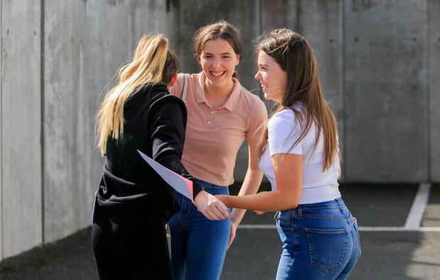 Time for celebration: Jesslyn Mullen from Goatstown, Erin Higgins from Ballybrack and Georgia Hanlon from Monkstown collect their Leaving Cert results at Rockford Manor Presentation, Blackrock