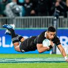 New Zealand's Richie Mounga scores a try during the Rugby Championship Bledisloe Cup Test match between the New Zealand All Blacks and Australia in Auckland on August 17, 2019. (Photo by Greg Bowker / AFP)GREG BOWKER/AFP/Getty Images