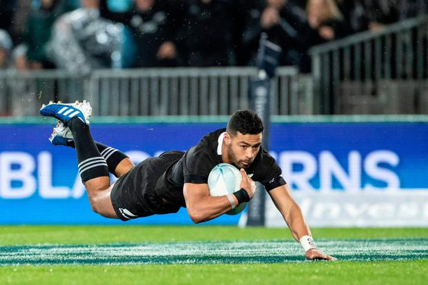 Beauden Barrett New Zealand's Richie Mounga scores a try during the Rugby Championship Bledisloe Cup Test match between the New Zealand All Blacks and Australia in Auckland on August 17, 2019. (Photo by Greg Bowker / AFP)GREG BOWKER/AFP/Getty Images