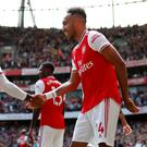Arsenal's Pierre-Emerick Aubameyang celebrates scoring their second goal with teammate Alexandre Lacazette REUTERS/David Klein