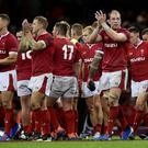 Wales' Alun Wyn Jones and team mates applaud fans at the end of the match REUTERS/Rebecca Naden
