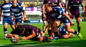 Vakh Abdaladze of Leinster goes over to score his side's sixth try