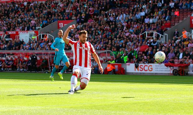 Stoke City's Scott Hogan scores his side's second goal