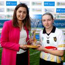 Kilkenny's Michelle Quilty is presented with The Liberty Player of the Match Award by Laura Byrne