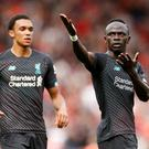 Liverpool's Sadio Mane celebrates scoring their first goal