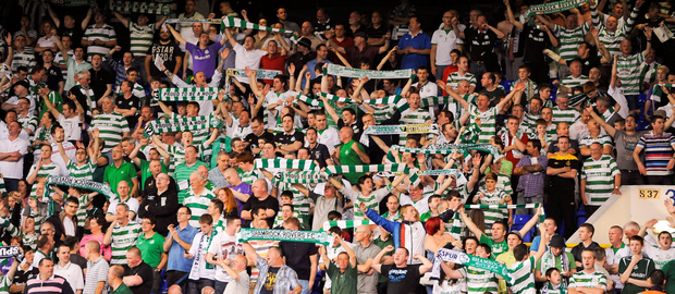 faith: Shamrock Rovers fans during a Europa League clash. The club's board has written to sports minister Shane Ross.