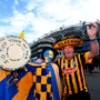 ipperary supporter Sid Ryan from Tipperary Town, left, with, Kilkenny supporter Eugene Gibbons from Thomastown, Co Kilkenny, prior to the GAA Hurling All-Ireland Senior Championship Final match at Croke Park in Dublin. Photo by Stephen McCarthy/Sportsfile