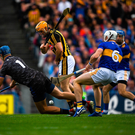 Brian Hogan of Tipperary saves a shot on goal by Colin Fennelly of Kilkenny during the GAA Hurling All-Ireland Senior Championship Final match at Croke Park in Dublin. Photo by Eóin Noonan/Sportsfile