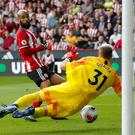 Crystal Palace's Vicente Guaita makes a save from Sheffield United's David McGoldrick