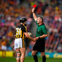 Richie Hogan of Kilkenny is shown a red card by the referee during the GAA Hurling All-Ireland Senior Championship Final match between Kilkenny and Tipperary at Croke Park in Dublin. Photo by Eóin Noonan/Sportsfile