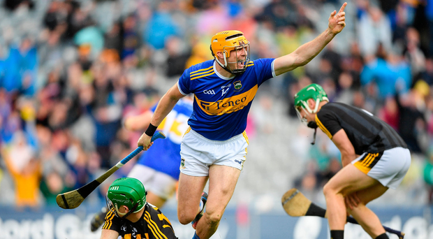 Séamus Callanan of Tipperary celebrates after scoring his side's second goal during the GAA Hurling All-Ireland Senior Championship Final match between Kilkenny and Tipperary at Croke Park in Dublin. Photo by Eóin Noonan/Sportsfile