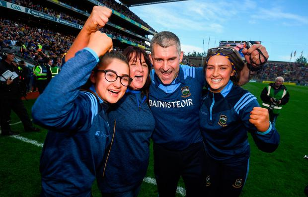 Tipperary manager Liam Sheedy celebrates with his family after winning the All-Ireland