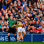 18 August 2019; Referee James Owens shows Richie Hogan of Kilkenny a red card during the GAA Hurling All-Ireland Senior Championship Final match between Kilkenny and Tipperary at Croke Park in Dublin. Photo by Ray McManus/Sportsfile
