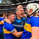 Tipperary manager Liam Sheedy celebrates with Willie Connors, left, and Brendan Maher following their side's victory