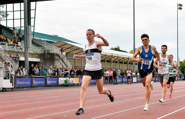 John Travers, here winning the 1500m final at the National Championships, is looking forward to Wednesday's Morton Games at Santry. Photo by Sam Barnes/Sportsfile