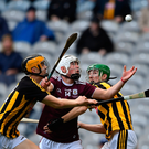 Galway full-forward Shane Morgan keeps his eye on the ball as he tries to fend off the challenges of Kilkenny pair Billy Reid (left) and Peter McDonald. Photo: Sportsfile