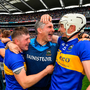 Elation: Tipperary manager Liam Sheedy celebrates with Willie Connors, left, and Brendan Maher following their win against Kilkenny. Photo: Sportsfile
