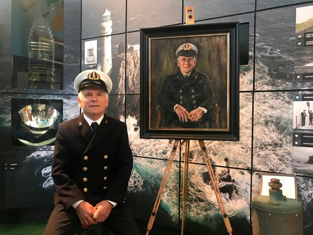 Bravery: Gerald Butler next to the portrait of him painted for the 40th anniversary of the Fastnet disaster. Photo: Dan Llywelyn Hall/PA Wire