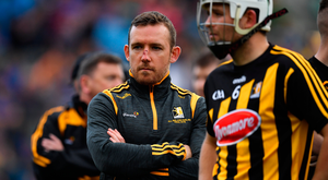 Dismissal: The dismissal of Kilkenny's Richie Hogan just before half time proved the turning point and effectively ended the contest. Photo: Sportsfile