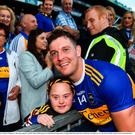 18 August 2019; Séamus Callanan of Tipperary with young supporter Jennifer Malone following the GAA Hurling All-Ireland Senior Championship Final match between Kilkenny and Tipperary at Croke Park in Dublin. Photo by Eóin Noonan/Sportsfile