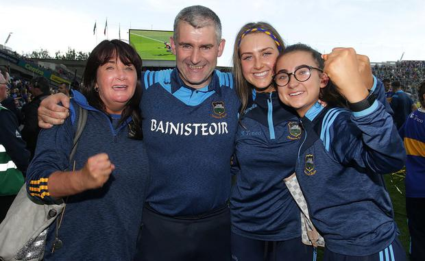 Tipp top: Tipperary manager Liam Sheedy is met by wife Margaret and daughters Gemma and Aisling after the final whistle. Photo: Damien Eagers/INM