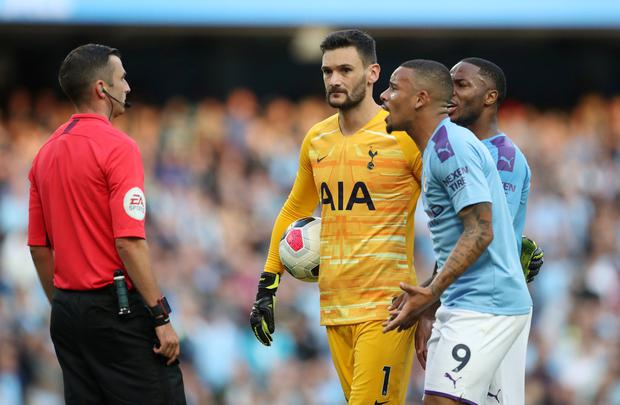 Jesus remonstrates with referee Michael Oliver. Photo: Reuters/Carl Recine