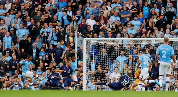 Jesus scores what he believed to be Manchester City's winner. Photo: Reuters