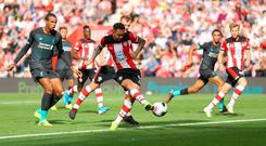 Danny Ings misses a glorious late chance to earn a point for Southampton in their 2-1 defeat against Liverpool. Photo by Warren Little/Getty Images