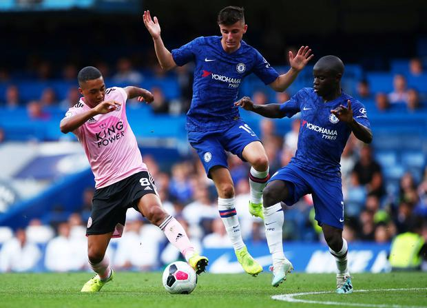 Leicester City's Youri Tielemans in action with Chelsea's Mason Mount and N'Golo Kante. Photo: Reuters/Eddie Keogh