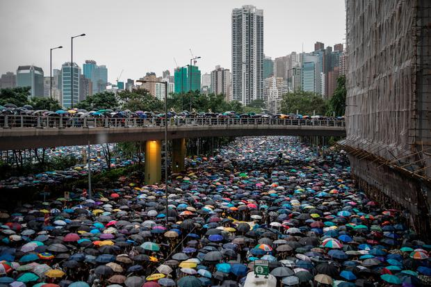 Peaceful: Protesters gather in Hong Kong yesterday. Photo by Chris McGrath/Getty Images