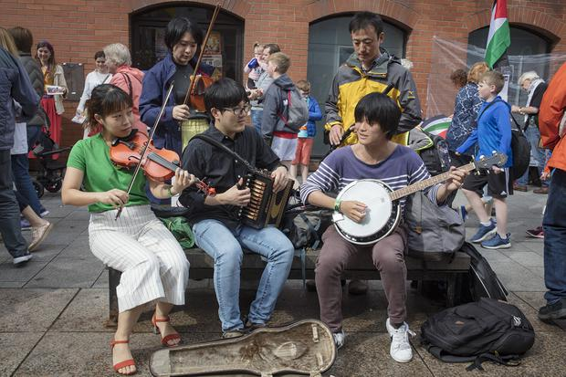 Arigato band from Japan on the last day of the Fleadh in Drogheda, Co Louth. Photo: Arthur Carron