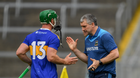 Tipperary manager Liam Sheedy congratulates John O'Dwyer as he leaves the field after being substituted late in the Munster GAA Hurling Senior Championship Round 2 match between Tipperary and Waterford at Semple Stadium, Thurles in Tipperary. Photo by Ray McManus/Sportsfile