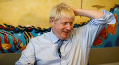 Prime Minister Boris Johnson during a visit to the Royal Cornwall Hospital in Truro (Peter Nicholls/PA)