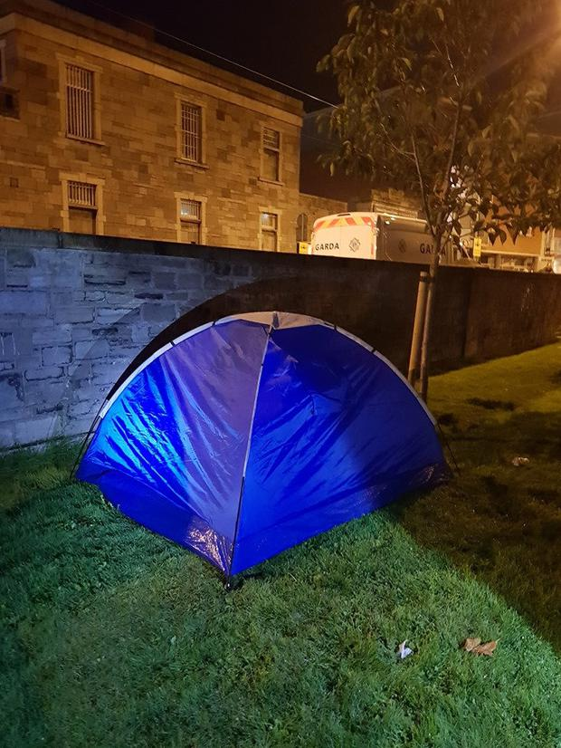 The injured man's tent in Wolftone Park. Photo: Feed Our Homeless Facebook