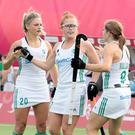 Teammates congratulate Ireland's Zoe Wilson, center, after she scored Ireland's third goal