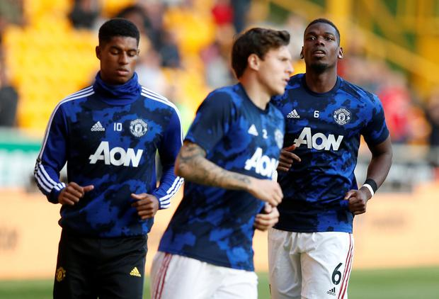 Manchester United's Marcus Rashford and Paul Pogba during the warm up before the match