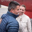 Danish prime minister Mette Frederiksen is greeted by Greenland's premier Kim Kielsen as she arrives in Nuuk, Greenland. Photo: Ritzau Scanpix/via REUTERS