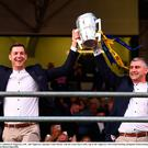 Séamus Callanan of Tipperary, left, and manager Liam Sheedy with the Liam MacCarthy cup a the homecoming
