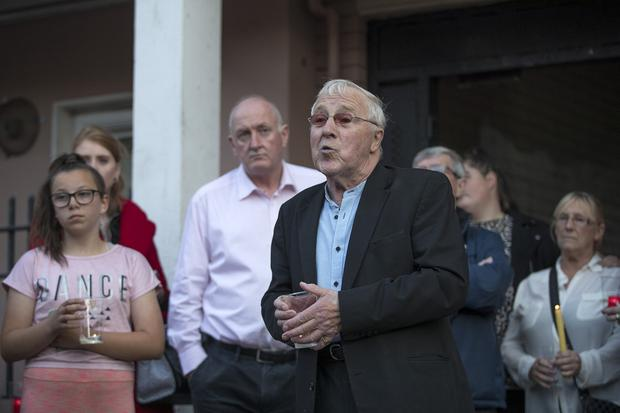19/8/19 Cllr Christie Burke speaking at a candle light vigil neld for pensioner Paddy Hansard who was seriuosly injured following an attack at the Courtney Place flat complex at the weekend. Picture: Arthur Carron