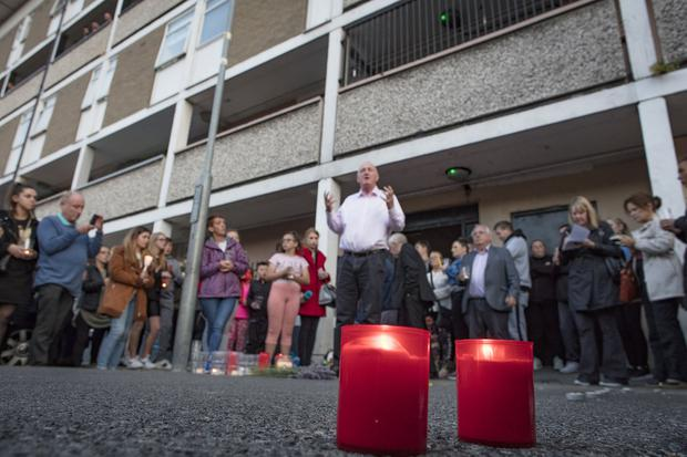 19/8/19 A candle light vigil neld for pensioner Paddy Hansard who was seriuosly injured following an attack at the Courtney Place flat complex at the weekend. Picture: Arthur Carron