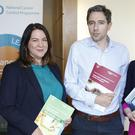 Supports: Dr Jerome Coffey and Louise Mullen of the National Cancer Control Programme with Health Minister Simon Harris, and Averil Power, CEO of Irish Cancer Society, at the launch