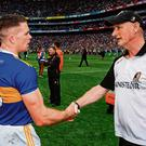 We'll meet again: Tipperary defender Pádraic Maher shakes hands with Kilkenny manager Brian Cody after Sunday's final in Croke Park. Photo: Stephen McCarthy/Sportsfile