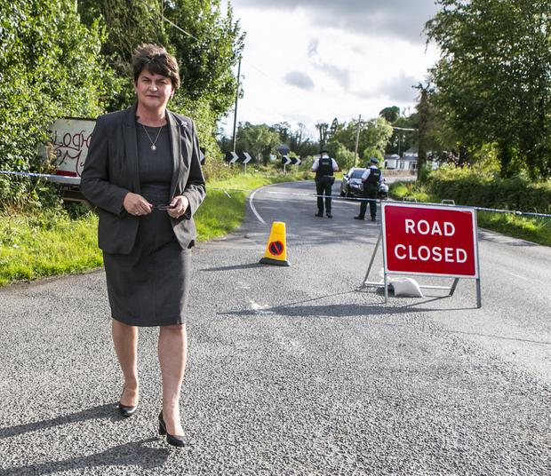 DUP leader Arlene Foster at a PSNI roadblock in Co Fermanagh. Photo: Kyran O'Brien